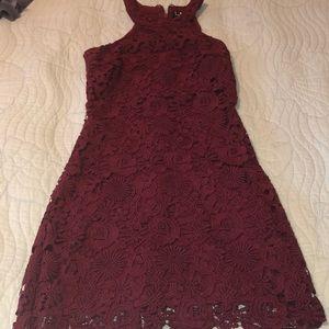Maroon Lulu's Lace Love Poem Dress